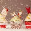 Three Christmas cupcakes — Stock Photo #74883999