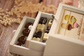 Box with chocolate sweets — Stock Photo