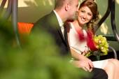 Bride and groom at signing wedding contract register — Stock Photo
