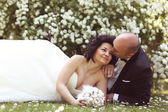 Bride and groom laying on marguerite field — Stock Photo