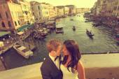 Bride and groom embracing in Venice, Italy — Stock Photo