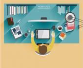 Arbetsplatsen designer. Platt modern illustration av arbetsprocessen — Stockvektor
