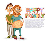 Pregnant woman with man — Stock Vector