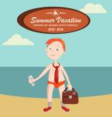 Summer vacation with character design — Vector de stock