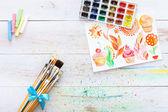 Artysta pędzli i farb — Zdjęcie stockowe