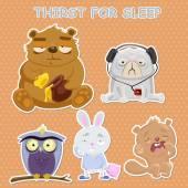 Tired sleepy animals — Stock Vector