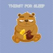 Sad bear eat honey — Stock Vector