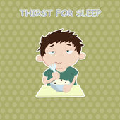 Sleepy hero. caffeine dependence — Stock Vector