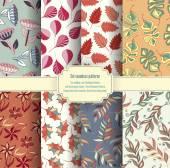 Set of vintage floral paterns — ストックベクタ