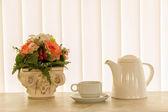 Kaffekopp på vit gardin bakgrund — Stockfoto