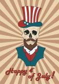 Poster July 4th skull — Stock Vector