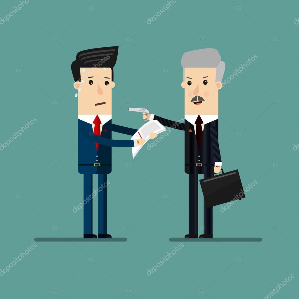 商人用枪和出口文件从商人,为敲诈或勒索威胁。商业概念卡通插画 图库矢量图像 169 Zuk Z 102457142