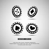 Black casino chip — Stock Vector