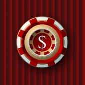 Single red and white casino chip isolated on vinous background — Stock Vector
