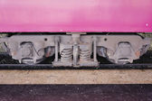 Train bogie with frame, coil springs, wheels and axle bearings — Stock Photo