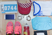 Running stuff laid out ready for a race day. — Stock Photo