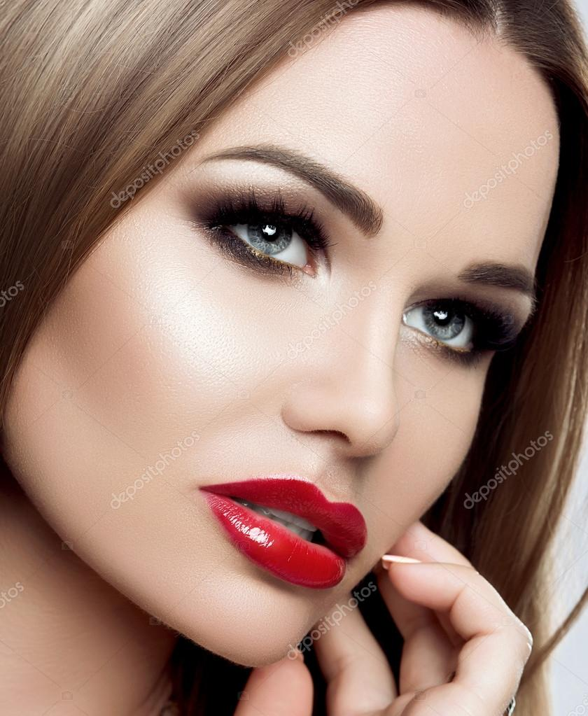 Красные губы макияж фото