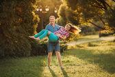 Beautiful pregnant woman and man couple in love — Stock Photo