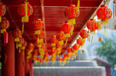 Focus on red Chinese lantern with the Chinese character Blessing — Stock Photo
