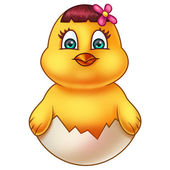 Yellow Easter Chicken in Egg Shell — Foto Stock
