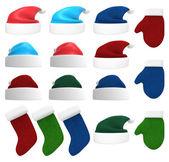 サンタの帽子、手袋、ストッキング 3 d セット — ストック写真