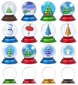 Christmas Snow Globe Set 3D — Foto de Stock