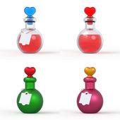 Love Potion Bottle 3D Set — Stock Photo