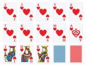Playing Cards - Hearts Set — Cтоковый вектор