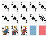 Playing Cards - Clubs Set — Cтоковый вектор