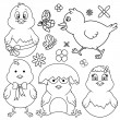 Easter Cartoon Chicken Line Art Set — Stock Photo #68675959