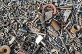 A lot of old bolts and nuts — Stock Photo