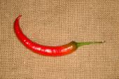 Un rouge chaud Chili pepper sur vieux chiffon — Photo