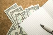Opened notebook, pen and money on the old tissue — ストック写真