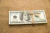 Un paquet de dollars sur la toile vieux — Photo