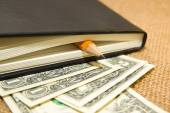 Notebook, pencil and money on the old tissue — Stock Photo