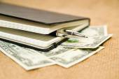 Notebook, pen and money on the old tissue — Stock Photo