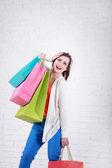 Fashion Shopping Girl Portrait. — Stock Photo