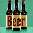 Vintage grunge style poster with a beer bottles. Retro vector illustration. — Stock Vector #67912053