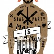 Постер, плакат: Typographic poster for stag party Hello Bachelor with tattooed body of a man Vector illustration