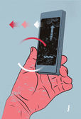 Vector illustration in retro style with hand holding smart phone, touching screen. — Wektor stockowy