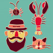 Cartoon beetle, crayfish, cat and man with mustache. Vector illustration. — Stock Vector #69303307