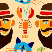 Seamless pattern. Cartoon beetle, crayfish, cat and man with mustache. Vector illustration. — Stock Vector