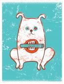 Cartoon retro funny dog with stick. Vector grunge illustration. — Stock Vector