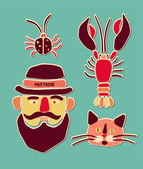 Cartoon beetle, crayfish, cat and man with mustache. Vector illustration. — Stock Vector