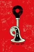 Retro grunge poster with klaxon. Vector illustration. — Stock Vector