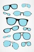 Vector set of retro glasses. Glasses background. — Stock Vector