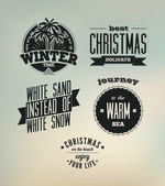 Christmas on the beach. Set of vector typography designs — Stock Vector