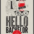 Постер, плакат: Poster for stag party Hello Bachelor