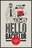 """Poster for stag party """"Hello Bachelor!"""" — Stock Vector"""