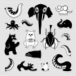 Crazy bizarre animal characters. Vector set of black and white stickers. — Stock Vector #69338791